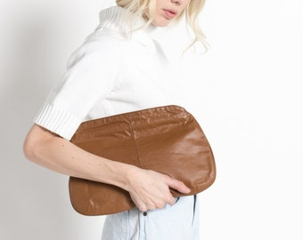 Vintage 70s Neusteters Brown Rounded Large Leather Clutch