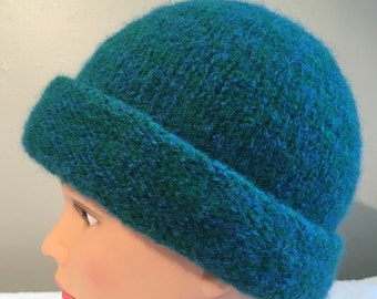 Teal color hand knit felted wool hat with folded back brim