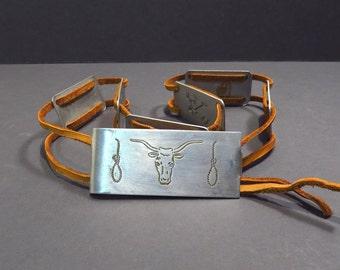 Childs Cowboy Belt Vintage 1950s Metal and Leather Little Buckeroo Belt