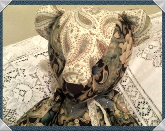Jointed Patchwork Teddy Bear - Teal, Dark Brown Floral and Paisley Prints