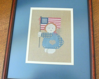 Vintage FRAMED Prairie Girl with Flag Cross-Stitch on Needlepoint Canvas 1980's
