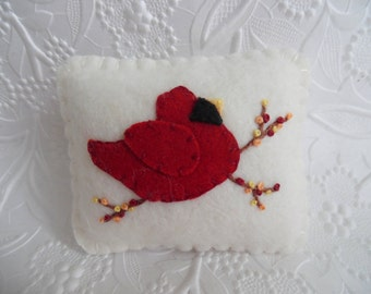 Felt Bird Pincushion Red Cardinal Holly Berries Wool Felted Christmas Stocking Stuffer Quilter