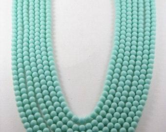 Vintage Long Baby Blue Acrylic Multistrand Necklace (N-3-1)
