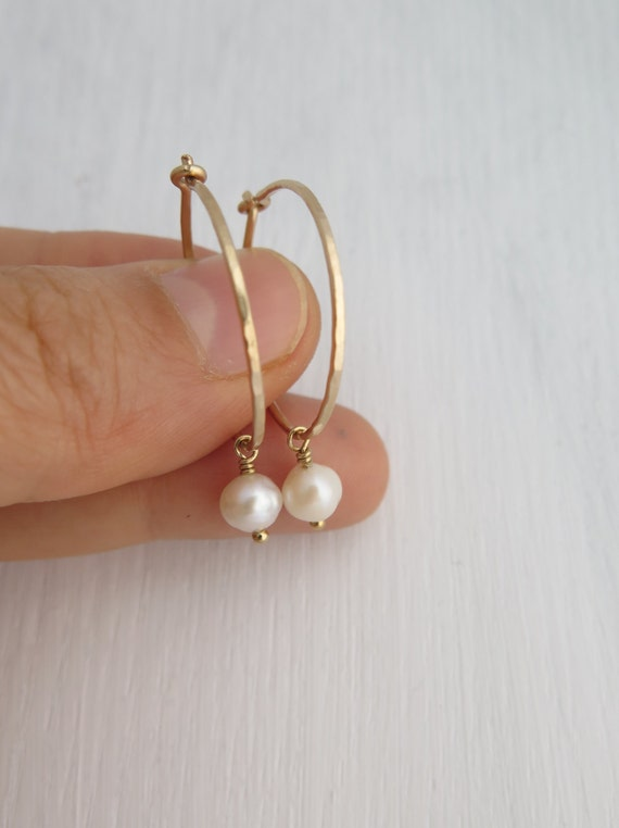 Thin hoop earrings, Small gold hoop earrings, Pearl earrings, 14k gold filled or sterling silver hoop earrings, Birthday gift for her