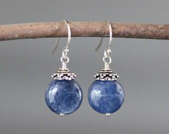 Blue Kyanite Earrings - Bali Silver Earrings - Blue Gemstone Earrings - Kyanite Jewelry - Silver Wire Wrapped Earrings - Blue and Silver