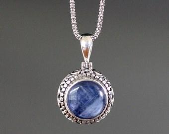 Kyanite Necklace - Blue Kyanite - Bali Silver Pendant - Blue Kyanite Pendant - Bali Silver Necklace - Blue Gemstone Necklace - Jewelry Gift