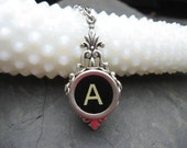 Typewriter Key Jewelry Necklace Letter A