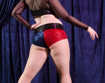 Harley Quinn inspired two-tone sequin Booty Shorts