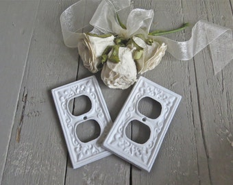 Shabby Light Socket Cover, Fixture, White Decor, Shabby and Chic, French Country, Fleur De Lis, Paris Apartment, Cottage Chic, Set of Two
