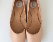 MAYA- Ballet Flats - Leather Shoes - 38- NUDE leather.