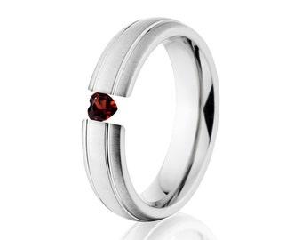 Tension Set Ring, Uniquley You, 6mm,  Titanium Ring, Heart Garnet, 6HR2G-XB-HRT-Tension