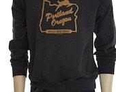 Portland Oregon  Wild & Free  Men's sweatshirt  Hometown tees  White stag  Unisex  Made in Oregon  jumper  Great gift  Travel tees  PDX.