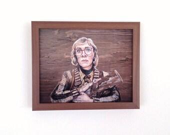 Log Lady - Twin Peaks Print - Portrait Painting on Wood - 5x7 8x10 11x14