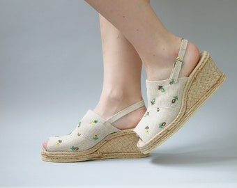 Parini wedges | Rope espadrilles with floral embroidery | 1970's by cubevintage | size 40