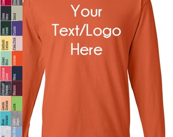 Custom Hanes - Beefy-T Long Sleeve T-Shirt - 5186 Available in All sizes and colors - Vinyl or Glitter Print