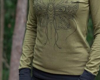 NEW Females Hemp and Organic Cotton Cowl Neck Long Sleeve - Butterfleye