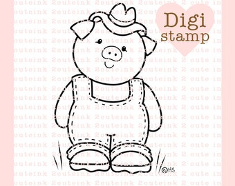 Country Pig Digital Stamp - Pig Digital Stamp - Digital Pig Stamp - Pig Art - Pig Card Supply - Pig Craft Supply