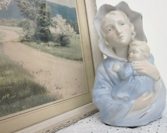Vintage Madonna and Child planter by Reginart, made in Japan. Mid century religious blue, ivory, gold Virgin Mary & Baby Jesus