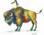 Original Watercolor - Fly Me to the Moon  - Penguin riding Bison - Daily painting Number 35