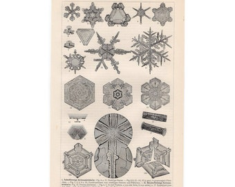 1894 ANTIQUE SNOW LITHOGRAPH - original antique print - snowflakes snow crystals - winter weather snow storm skiing snowboarding