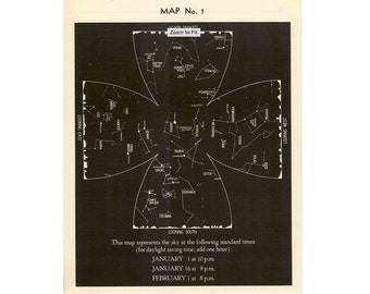 1942 JANUARY SKY CHART - constellations star map original vintage celestial astronomy print