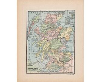c. 1910 SCOTLAND ANTIQUE map lithograph - original antique print - maps of the world - international cartography - United Kingdom