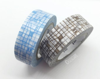 Japanese sketch pattern Pretty Washi Tape set of 2 blue brown
