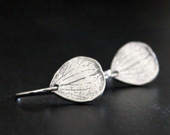 Silver Petal Earrings, Botanical Jewelry, Sterling Silver Earrings, Rustic Silver Jewelry, Small Silver Earrings