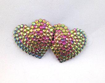Heart Shaped Sunburst Rhinestone Nipple Pasties - SugarKitty Couture