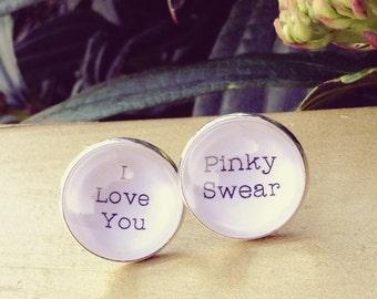 Cuff Links Grooms Gift, I Love You, Pinky Swear, Gift for Him Wedding Cufflinks