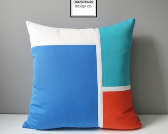 Decorative Outdoor Pillow Cover, Blue Color Block Pillow Case, Melon White & Turquoise, Capri Blue Sunbrella Pillow Cushion Cover, Mazizmuse