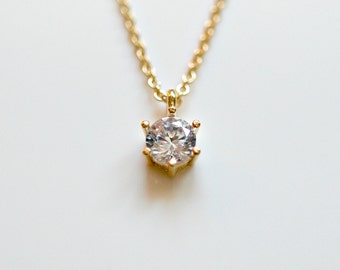 Tiny crystal necklace - clear round diamond solitaire cubic zirconia crystal gold pendant - goldfill chain - delicate dainty jewelry - Minka