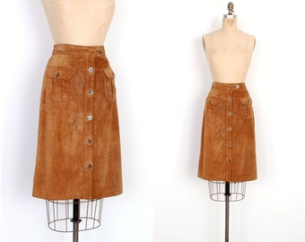 Vintage 1970s Skirt / 70s Suede Button Front Skirt / Brown (S M)