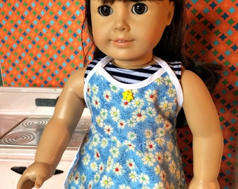 White and Blue Flowered Apron, 18 inch doll sized