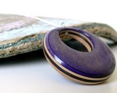 Purple and Black Reversible Wood Grain Pendant made from Recycled Skateboards