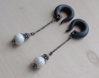 Gunmetal Frosted Pearl Drop Gauged Earrings Plugs