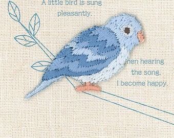 Blue Parrotlet, Bird Patch, Embroidered Iron On Patch, Japanese Colorful Iron on Applique, Made in Japan, Kawaii Embroidery Applique,W101