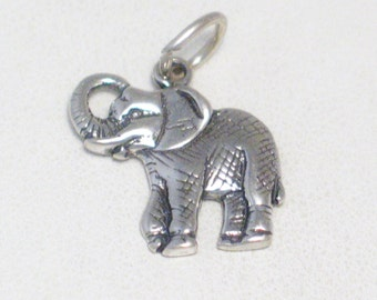 silver elephant charm pendant for bracelet or necklace trunk up good luck crosshatched design gray African safari wildlife animal