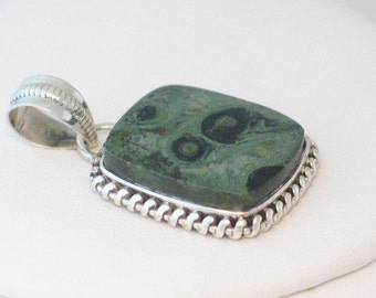 Sterling silver moss / sage green ocean jasper stone square cut cabochon necklace pendant rope bezel setting dress up or down causual formal