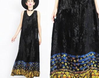90s Black Velvet Maxi Dress Grunge Crushed Velvet Dress Boho Ditsy Floral Print Velvet Dress Goth Sleeveless Loose Long Velvet Dress (M/L)
