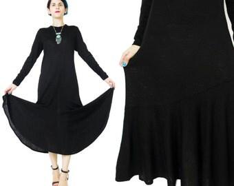 80s Long Black Sweater Dress Fishtail Flared Hem Dress Long Sleeve Black Dress 1980s Vintage Winter Dress Retro Minimalist Black Dress (M/L)
