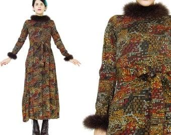 1960s Marabou Feather Dress Vintage Mod Geometric Print Dress Wool Jersey Dress Long Sleeve Brown Dress Belted Abstract Dress (S/M)