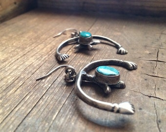 Vintage sandcast silver and turquoise Naja earrings, Native American Indian jewelry, Southwestern earrings, turquoise jewelry bohemian style