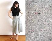 50s Skirt / 1950s Gray Wool A Line Skirt