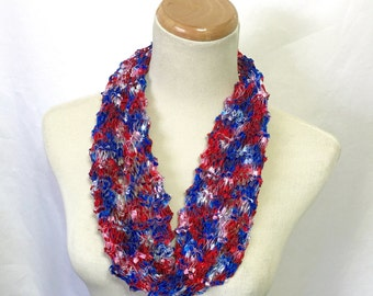 Sale Red White Blue Scarf, Patriotic Cowl, Hand Knit Cowl, Knit Scarf, Gift For Her, Independence Day