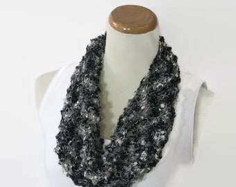 Black White Scarf, Hand Knit Cowl, Knit Scarf, Circle Scarf, Loop Scarf, Fiber Art, Mother's Day, Spring Scarf, Gift For Her, Fashion Scarf