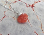 Dainty Petite Peach Moonstone & Sterling Silver Leaf Pendant
