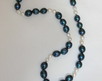 Blue and White Pearl Pendant