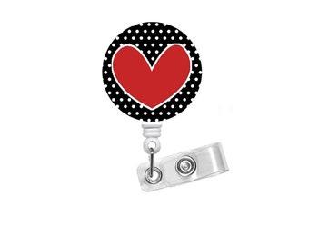 Hearts and Polka Dots - Cute Badge Reel - Nurse Badge Holder - Nursing Badge Reel - Retractable Badge Reel - Teacher Badge - Cardiac Nurse