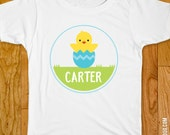 Easter Iron-On Shirt Design - Chick & Blue Egg - Choose child or onesie size